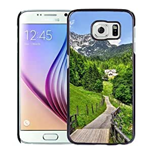 NEW Unique Custom Designed Samsung Galaxy S6 Phone Case With Mountain Village Road Path_Black Phone Case