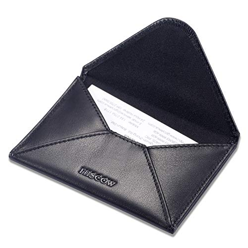 (HISCOW Envelope Business Card Case with Magnet Closure - Italian Calfskin (Black))