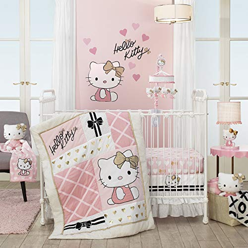 Lambs & Ivy Hello Kitty Hearts 3-Piece Crib Bedding Set, Pink/Gold