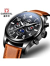 Mastop Pilot Military Analog Automatic Mechanical Watch Luminous Waterproof Moon Phase 24-Hours Men Wrist Watch (BrownLeather)