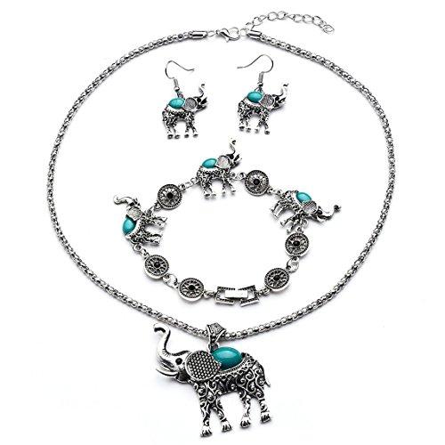 Rurah Womens Bohemian Retro Turquoise Carved Elephant Bracelet Earrings Necklace Three Piece Jewelry Set,green