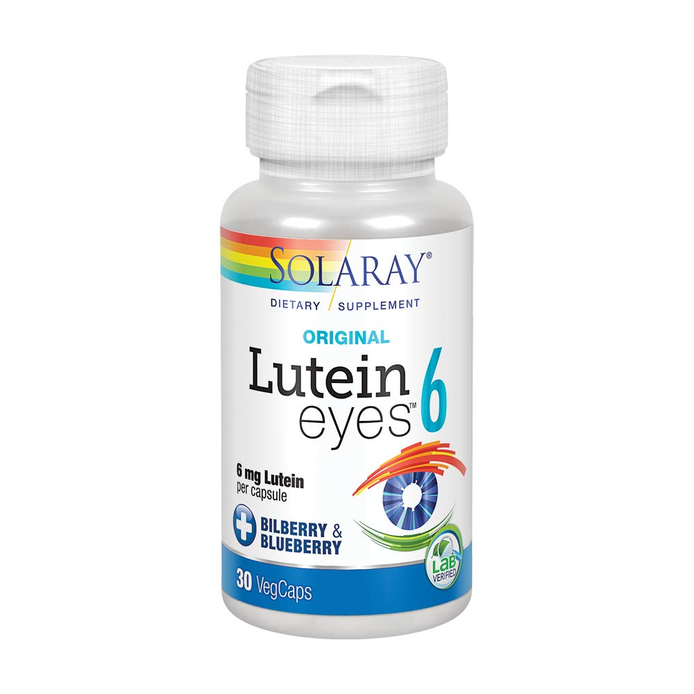 Solaray Original Lutein Eyes, 6 mg   Eye & Macular Health Support Supplement w/Naturally Occurring Lutein and Zeaxanthin   Non-GMO   Vegan   30 Count
