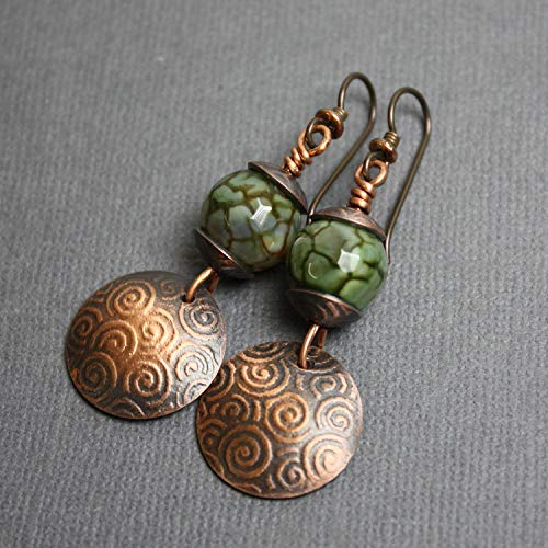 Green Czech Bead & Domed Copper Disk Earrings ()