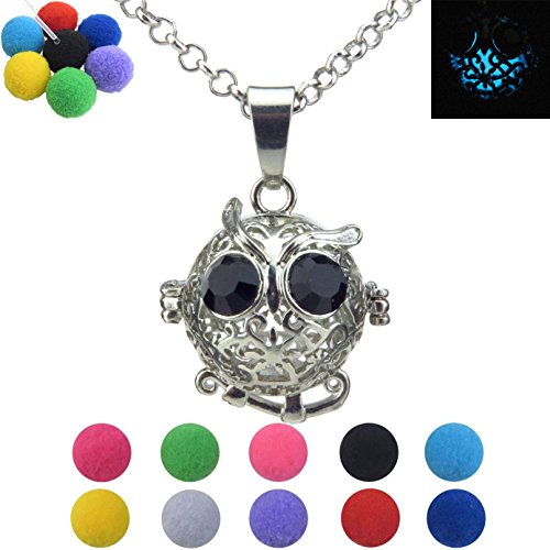 Price comparison product image Glow in the dark Owl Locket Necklace, Animal Cage, for Kid, Girls, Boy, Birthday Party Favors, Owl Cage, Box