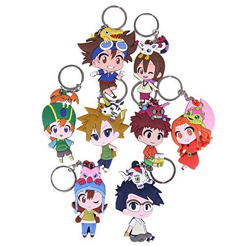 Digimon Adventure Agumon Gomanon Gabumon Tailmon Biyomon Palmon Tentomon Patamon with Keychain PVC Action Figure 8pcs/set Toy Anime Gift