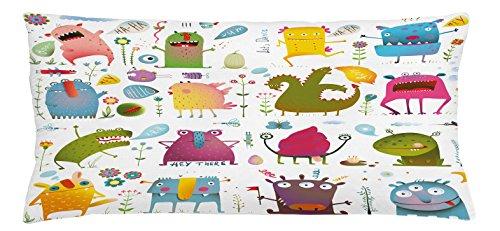 Groovy Garden Pillow (Funny Throw Pillow Cushion Cover by Lunarable, Cute Cartoon Monsters Kids Design