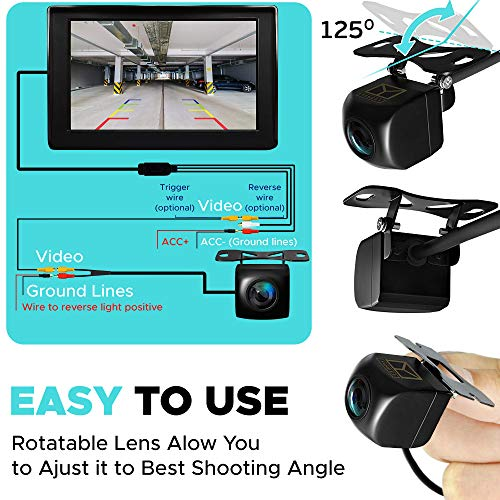 Backup Camera Night Vision - HD 1080p - Car Rear View Parking Camera - Best 170° Wide View Angel - Waterproof Reverse Auto Back Up Car Backing Camera - High Definition - Fits All Vehicles by Yanees by YANEES (Image #4)