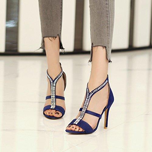 Satén Código Para Mujer De Sandalias sandalia Gran la Mujer Banquete Con Tacón Blue Mujer Pulsera Alto wXIv6qpxI