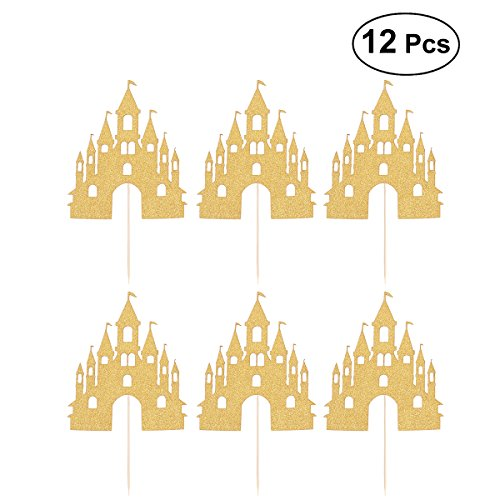 TOYMYTOY Princess Cupcake Toppers Picks Glitter Castle Cake Toppers Decoration for Birthday,Baby Shower Party,Halloween-Pack of 12 -
