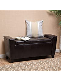 james brown tufted leather armed storage ottoman bench - Storage Ottoman Cube