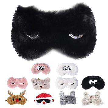 Cute Animal Fluffy Plush Novelty Sleep Eye Mask Travel Sleeping Blindfold Shade