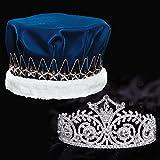 Blue Velvet Royalty Set, 3 Inch High Elsa Tiara and Blue Velvet Crown with Silver Star Band, White Fur