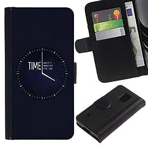 Billetera de Cuero Caso Titular de la tarjeta Carcasa Funda para Samsung Galaxy S5 V SM-G900 / Time Waste It Til You Can / STRONG
