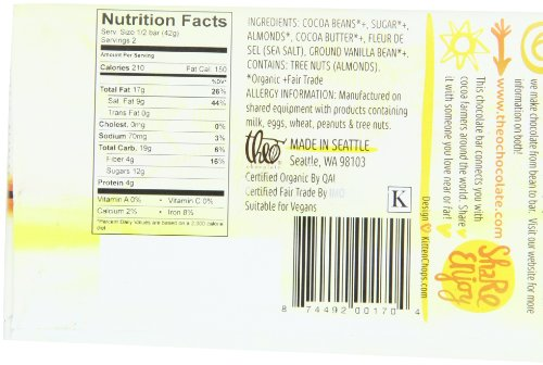 Theo Dark Chocolate Nutrition