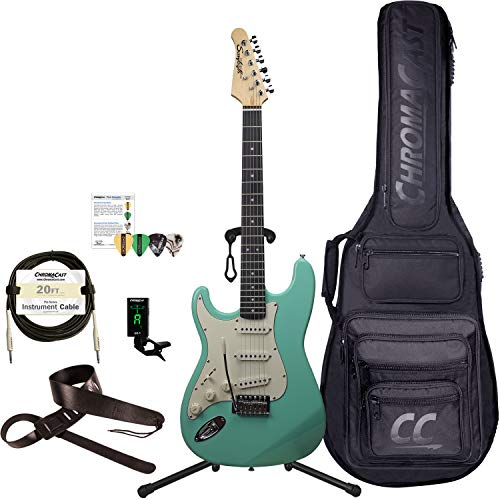 Sawtooth 6 String Solid-Body Electric Guitar, Left-Handed Surf Green, Gig Bag & Accessories (ST-ES60-LH-SGR-KIT-1)
