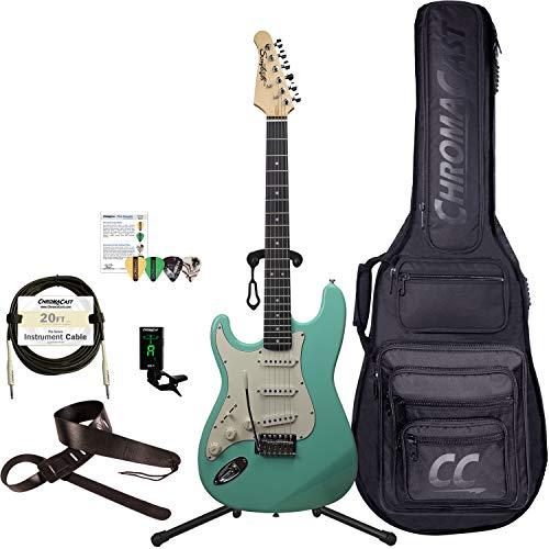 Sawtooth 6 String Solid-Body Electric Guitar, Left-Handed Surf Green, Gig Bag & Accessories (ST-ES60-LH-SGR-KIT-1)