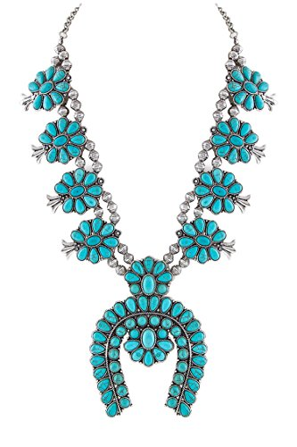 Jayde N' Grey Navajo Southwestern Squash Blossom Tribal Turquoise Necklace (Turquoise Silver Premium Large Size) -
