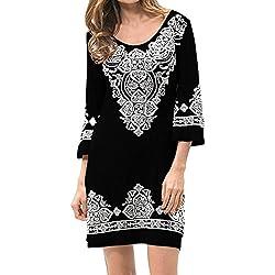 Levaca Womens Tops 3/4 Sleeve Scoop Neck Slim Fit Casual Dress Black L