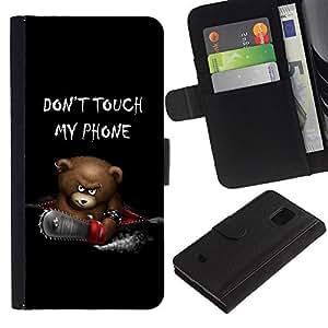 Planetar® Modelo colorido cuero carpeta tirón caso cubierta piel Holster Funda protección Para Samsung Galaxy S5 Mini / SM-G800 (Not For S5!!!) ( Funny Don'T Touch My Phone Bear )