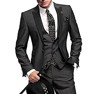 GEORGE BRIDE Slim Fit Men's Suit 3Pc Suit Jacket, Vest,Suit Pants