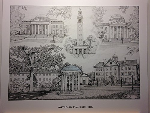 University of North Carolina-Chapel Hill pen and ink collage print by Campus Scenes