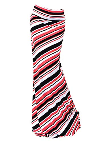 - Multifit Women Fold Over High Waisted Elastic Floral Printed Long Skirt Maxi Skirt(Black&Red Twill-XL)