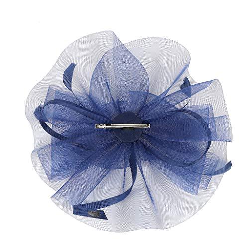 UROSA Fascinator Hat Flower Feather Net Mesh Kentucky Derby Tea Party Party Headwear Headwear Navy ()