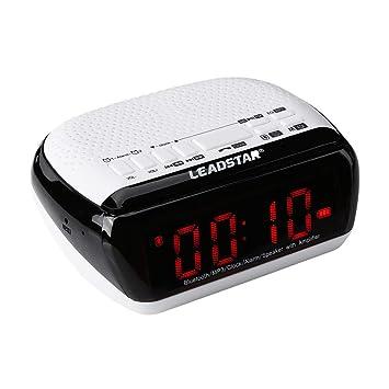Altavoz Bluetooth Inalámbrico Despertador Digital Altavoz Digital Escritorio Reloj de cabecera Radio FM Pantalla LED: Amazon.es: Electrónica