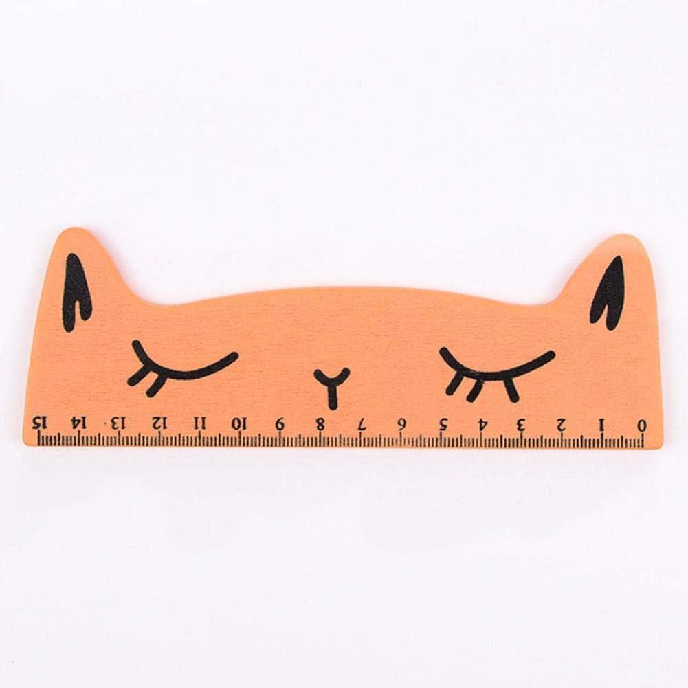Regla de madera de 15 cm con diseño de gato de dibujos animados para pintar y dibujar, color naranja: Amazon.es: Oficina y papelería