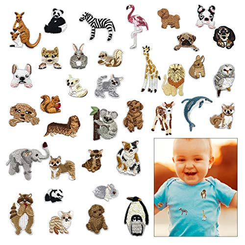 Cieovo 36pcs Cute Animals Patches Set Embroidered Iron On Patches Clothing DIY Stripes Clothes Stickers Custom Badges for Repairing, Decorating, Reinforcing and Mending Jeans, Cool Party Favors