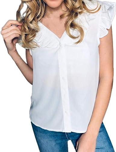 Camiseta Mujer Blanca Manga Corta V-Cuello Color Sólido Camisa Manga Corta para Mujer Suelta Verano Tops Blusas con Volante Jersey Wyxhkj: Amazon.es: Ropa y accesorios