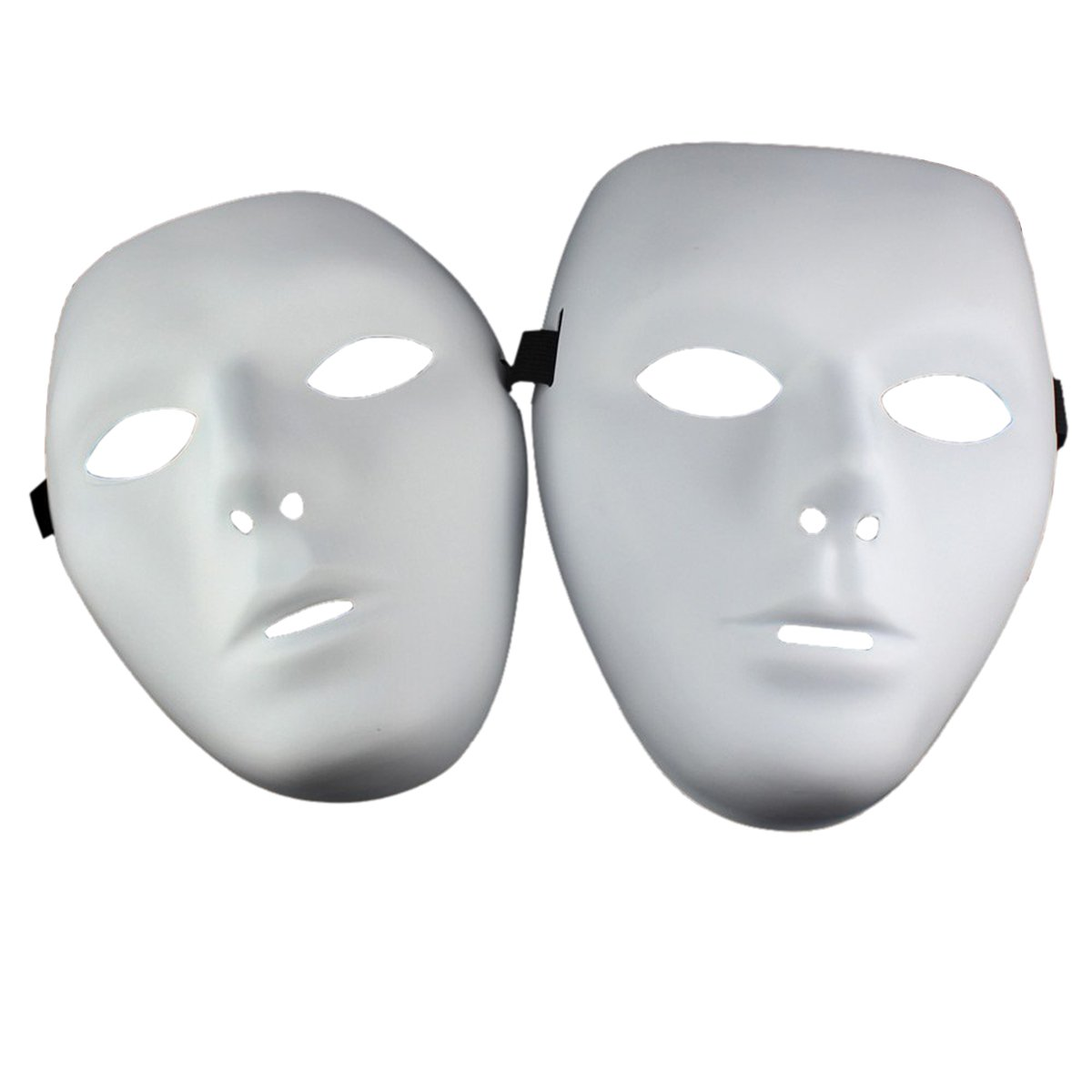 THEE 2 pairs Hiphop Mask Halloween Cosplay Costume Party White ZFFZCS2