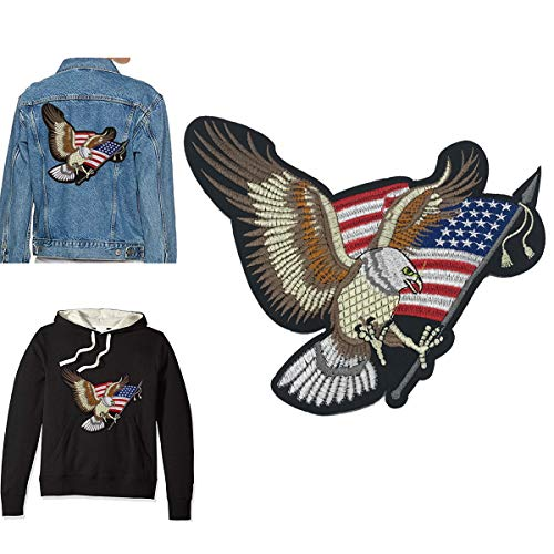 B.FY Eagle with American Flag Bald Eagle Patch Applique Saw On Patches Embroidered Patch Cloth Stickers American Eagle for DIY AmericanEagleJeans for Men or Women - Mens Eagle Applique