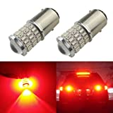 iBrightstar Newest 9-30V Surper Bright Low Power 1157 BAY15D LED Bulbs with Projector for Switch between Brake Lights and Tail Lights,Brilliant Red