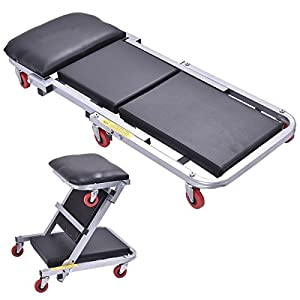 "40"" 2 In 1 Foldable Mechanics Z Creeper Seat Rolling Chair Garage Work Stool - By Choice Products"