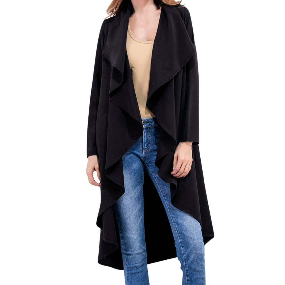 aliveGOT Women's Open Front Lapel Draped Long Cardigan Jacket Pockets Windbreaker Trench Coat (2XL, Black)