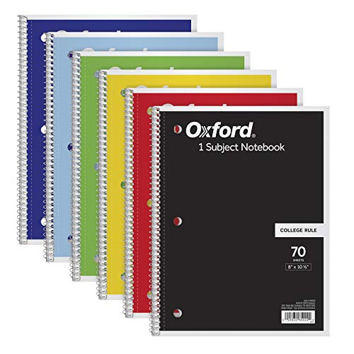 "TOPS/Oxford 1-Subject Notebooks, 8"" x 10-1/2"", College Rule, 70 Sheets, 6 Pack, Color Assortment May Vary (65007)"