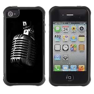 Pulsar Defender Series Tpu silicona Carcasa Funda Case para Apple iPhone 4 / iPhone 4S , Microphone Retro Microphone