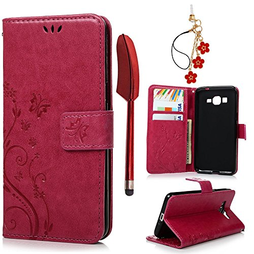 Galaxy Grand Prime Case- MOLLYCOOCLE Stand Wallet ID Holders Emboss Vintage Flower Flip Folio TPU Soft Bumper PU Leather Skin Cover for Samsung Galaxy Grand (Hybrid Grande)