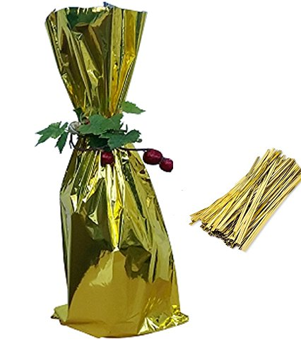 20 / Tall Wine Bags/Twist tie, Metallic Mylar Bottle size 6-1/2