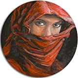 Designart ''Arabian Woman in Hijab Portrait Round'' Metal Wall Art, 11 x 11'', Red/Brown