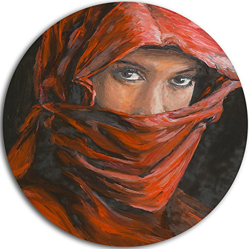 Designart ''Arabian Woman in Hijab Portrait Round'' Metal Wall Art, 11 x 11'', Red/Brown by Design Art