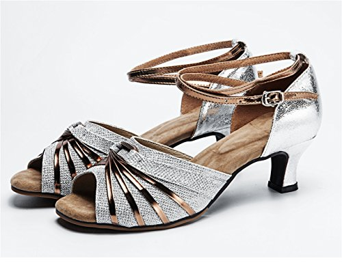 Glittering Gold Leather Stripe Spread Latin Practice Ballroom Dance Shoes with Peep-toe Silver/Rubber SywGsySq5f