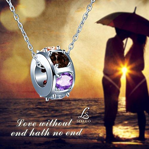 300a44978b78 sixluo Colorful Crystal Slide bola cadena de plata de ley 925 Círculo aro  collar colgante hecho