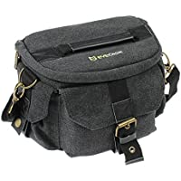Evecase DSLR/SLR Camera Canvas Case Bag with Shoulder Strap For Compact system, Hybrid, Mirrorless, Micro 4/3 System, Full Frame, and High Zoom Digital Camera and other Accessories - Black / Medium