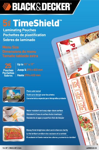 BLACK + DECKER TimeShield  Thermal Laminating Pouches, Menu, 5 mil - 25 Pack (LAMMENU5-25) ()