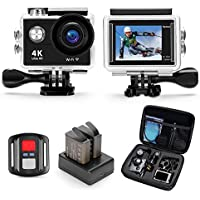 Darkeep HD Action Cam 4K 1080P Digital Camera 2 Inch LCD 98Feet Waterproof WIFI Apps Real Time Share 2.4G IR Remote 170D Wide Angle Fisheye Lens Multi Language 120Min Sports DV for Bungee Gliding BMX