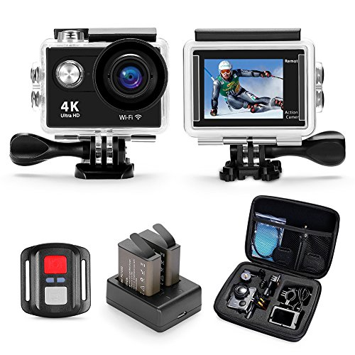 Darkeep HD Action Cam 4K 1080P Digital Camera 2 Inch LCD 98Feet Waterproof WIFI Apps Real Time Share 2.4G IR Remote 170D Wide Angle Fisheye Lens Multi Language 120Min Sports DV for Bungee Gliding BMX Darkeep