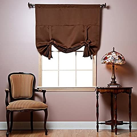Best Home Fashion Thermal Insulated Blackout Tie-Up Window Shade - Rod Pocket - Chocolate - 42