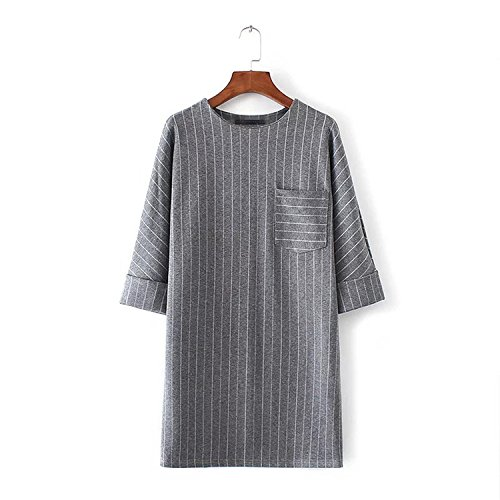 Autumn Wedding Invitation Wording (FDFAF Sexy women thick striped pocket loose straight dress three sleeve ladies winter autumn casual dresses vestidos as picture M)